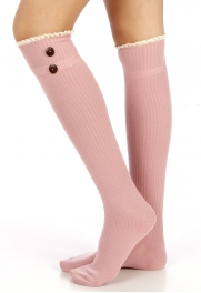 Wholesale M21 Short lace top two button solid socks Black