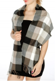 Wholesale Q57 Cashmere Feel Checkered Woven scarf BKWH