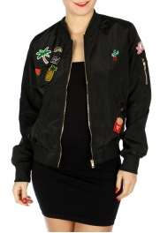 Wholesale N09B Contemporary bomber jacket w/ patches Black