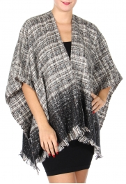 wholesale BX30 Fringe woven shawl Black