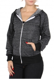 Wholesale A19C Cotton blend light jacket with hood Charcoal