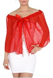 wholesale B39 Chiffon Bead Capelet KTK100 Red