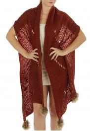 Wholesale P37 Oversized knit faux fur pompom scarf BD