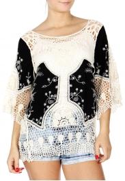 Wholesale K54C Floral crochet insert embroidery top PLUS SIZE BLACK