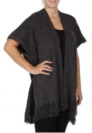 Wholesale N05E Solid ruana shawl with fringe Grey/Black