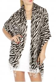 wholesale D20 Print Tiger Pashmina 066 White fashionunic