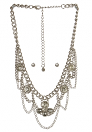 wholesale Stone accent on metal necklace set RHCL fashionunic