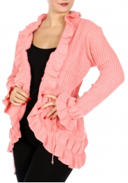 Wholesale O28A Cute Ruffle Front Tie Cardigan Brown