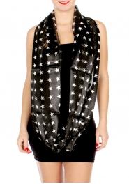Wholesale G49D Sheer stripe satin-like star print infinity scarf BK