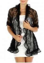 wholesale M13 Mesh see thru ruffle scarf BK fashionunic