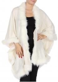 Wholesale T01A Faux fur trim ruana Light Beige