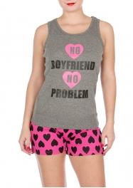 "Wholesale U37C ""No boyfriend, no problem"" 2pcs tank/shorts PJ set Gray"