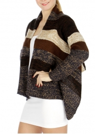 Wholesale Colorblock striped cardigan Plus Size Brown/Navy