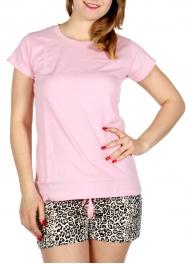 Wholesale F08C Solid t-shirts & animal print shorts pj set Light Pink