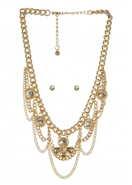 wholesale Stone accent on metal necklace set GDCL fashionunic