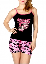 Wholesale Q17-1B 100% SWEET camouflage print PJ tank & shorts set Black