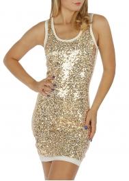 wholesale M24 Full sequin front Dress Black/Brown S
