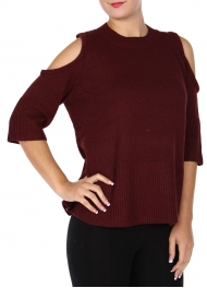 Wholesale Q68D Wool blend cold shoulder sweater Burgundy