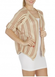 Wholesale T71 Striped open knit cardigan Taupe/Pink