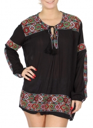 Wholesale K43B Diamond embroidery long sleeve tunic blouse BLACK