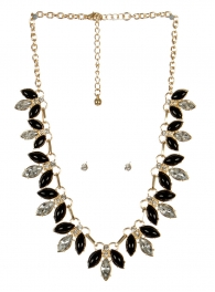 wholesale Pointed stone necklace set GDBK fashionunic