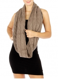 wholesale Q21 Chunky cable knit infinity scarf L Brown