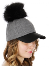 Wholesale Q51A Faux leather & wool baseball cap w/ faux fur pompom BKGRY