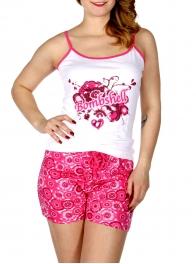 Wholesale Q17-1B BOMBSHELL tie dye print PJ tank & shorts setCoral