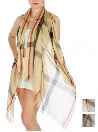 Wholesale H04 Classic plaid glitter scarf Beige