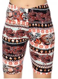 Wholesale F06D Paisley stripes print softbrush bermuda leggings