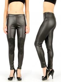 Wholesale D41 Studded rhombus liquid leggings Black
