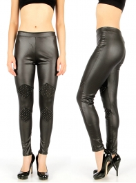Wholesale D41 Studded rhombus liquid leggings Black