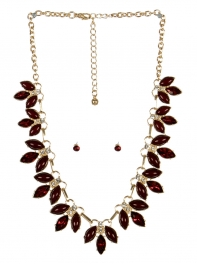 wholesale Pointed stone necklace set GDBUG fashionunic