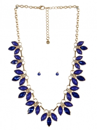 wholesale Pointed stone necklace set GDBL fashionunic