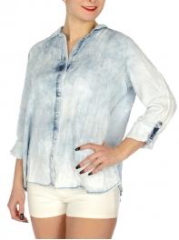 Wholesale N35D Tulip back washed denim shirt Washed Blue