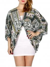 Wholesale I34D Aztec pattern strips round ruana w/ button