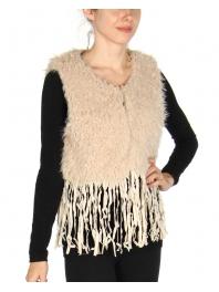 Wholesale S58 Long tasseled short faux fur vest Beige