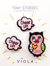 "Wholesale L08A ""Cheer Up"" Theme 3 Pin Set"