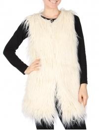 Wholesale T20S Open-front faux fur vest Ivory