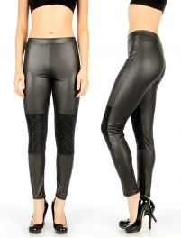 Wholesale D41 Studded knee liquid leggings Black