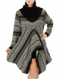 Wholesale S78 Abstract turtleneck knit sweater Black