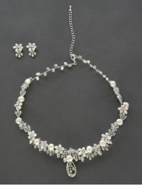 Wholesale N35 Froral necklace and earing set Pearl/Silver