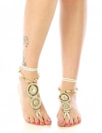 wholesale N46 Two medallion beaded anklet fashionunic