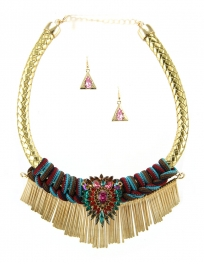 Wholesale L35B Multi stone drop necklace set GDMT