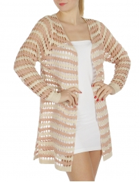 Wholesale S79 Two tone open knit cardigan Taupe/Pink