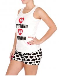 """Wholesale U37C """"No boyfriend, no problem"""" 2pcs tank/shorts PJ set White"""