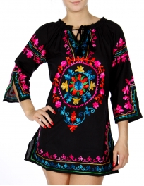 Wholesale I11A Colorful floral embroidery side slit tunic BLACK