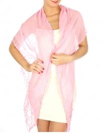 wholesale K34 Webbed edge cotton blend scarf Pink