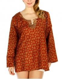 Wholesale G43E Sari Style Top M/L Brown