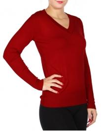 Wholesale P45D V-neck knit top Red